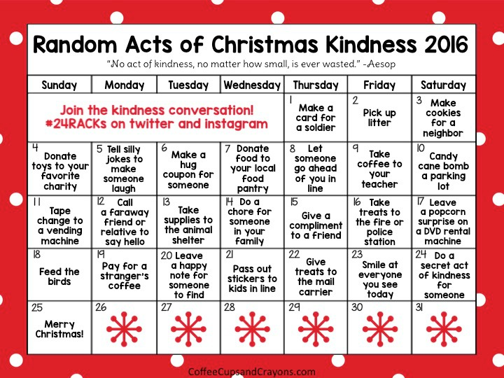 2016 Random Acts Of Christmas Calendar Free Printable In Post